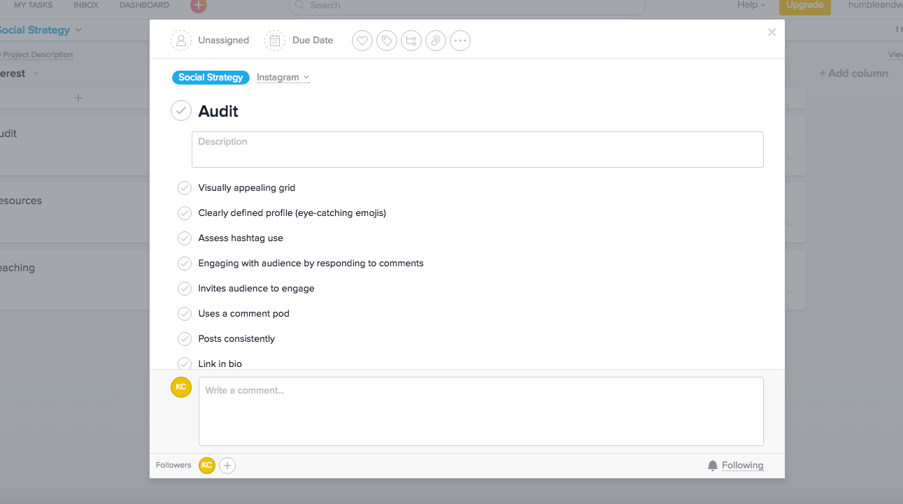 Here is an example of what our Instagram audit process looks like!