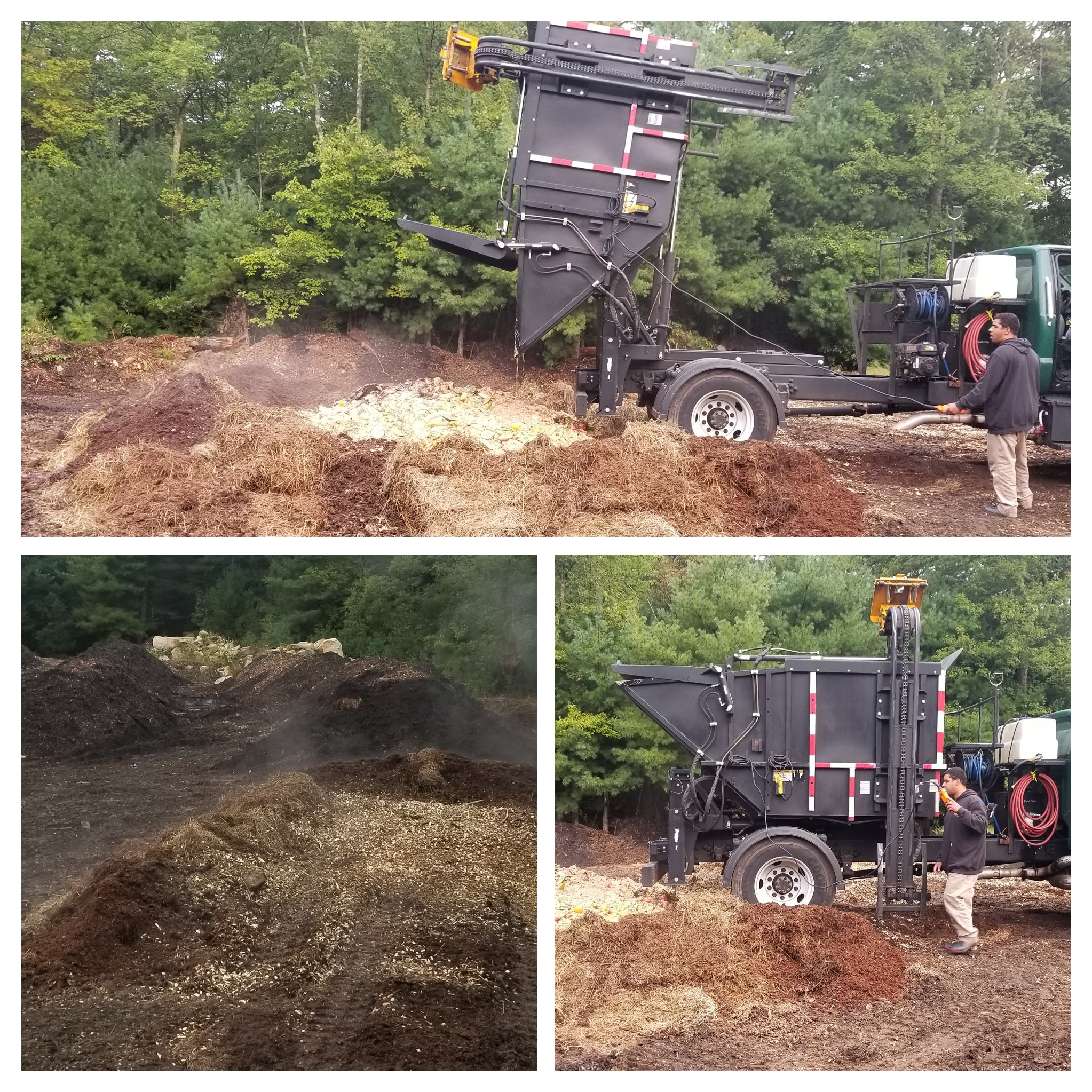 A Compost Plant truck dumping food scraps onto a pad of carbon material.