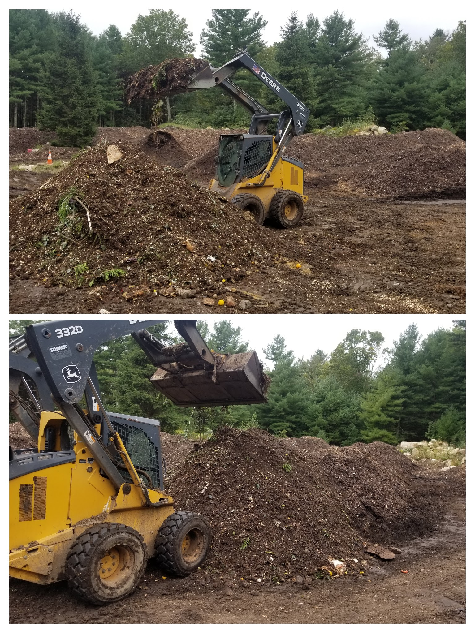 Mixing the pile and then placing into a windrow to start cooking.