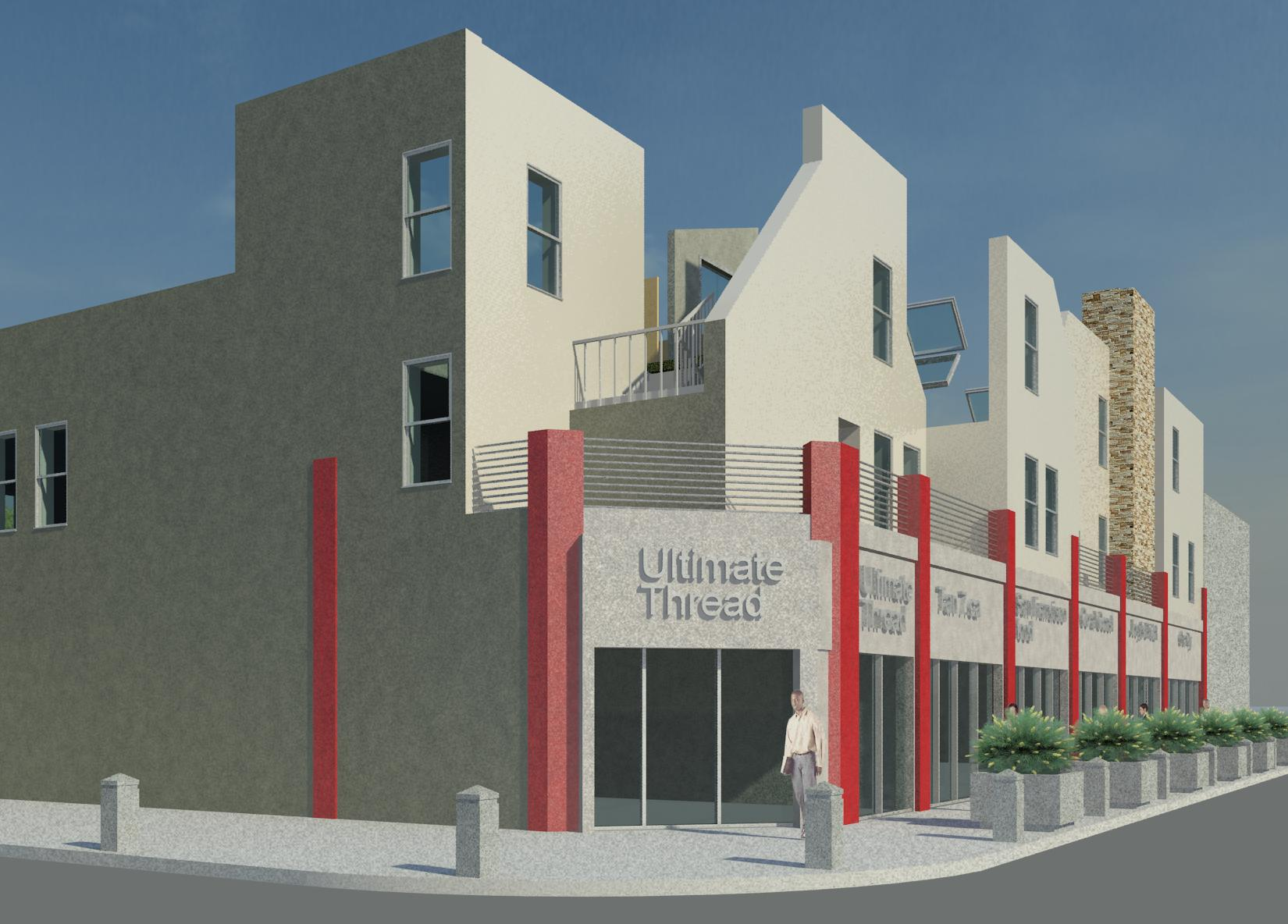Lakeshore Commercial Space with 2nd Floor Residential Apartments Front Elevation.jpg