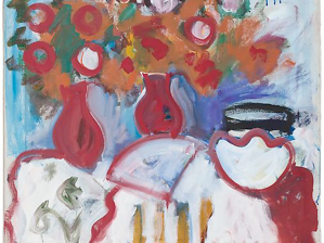 Table Still Life with Red Vases, Fan and Bowl, 1968. Oil on canvas, 30 x 34 inches