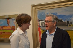 Author Ann Patchett talks with Robert De Niro at the Provincetown Fine Arts Work Center Annual Awards Celebration,July 12, 2014.    Photograph: Lauren Ewing