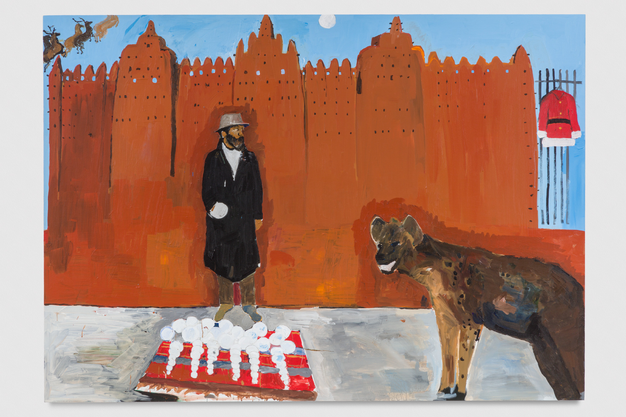 - Henry Taylor Hammons meets a hyena on holiday, 2016, Acrylic on canvas, 60 x 84 inches (152.4 x 213.4 centimeters)© Henry Taylor, Courtesy of the artist and Blum & Poe, Los Angeles/New York/Tokyo