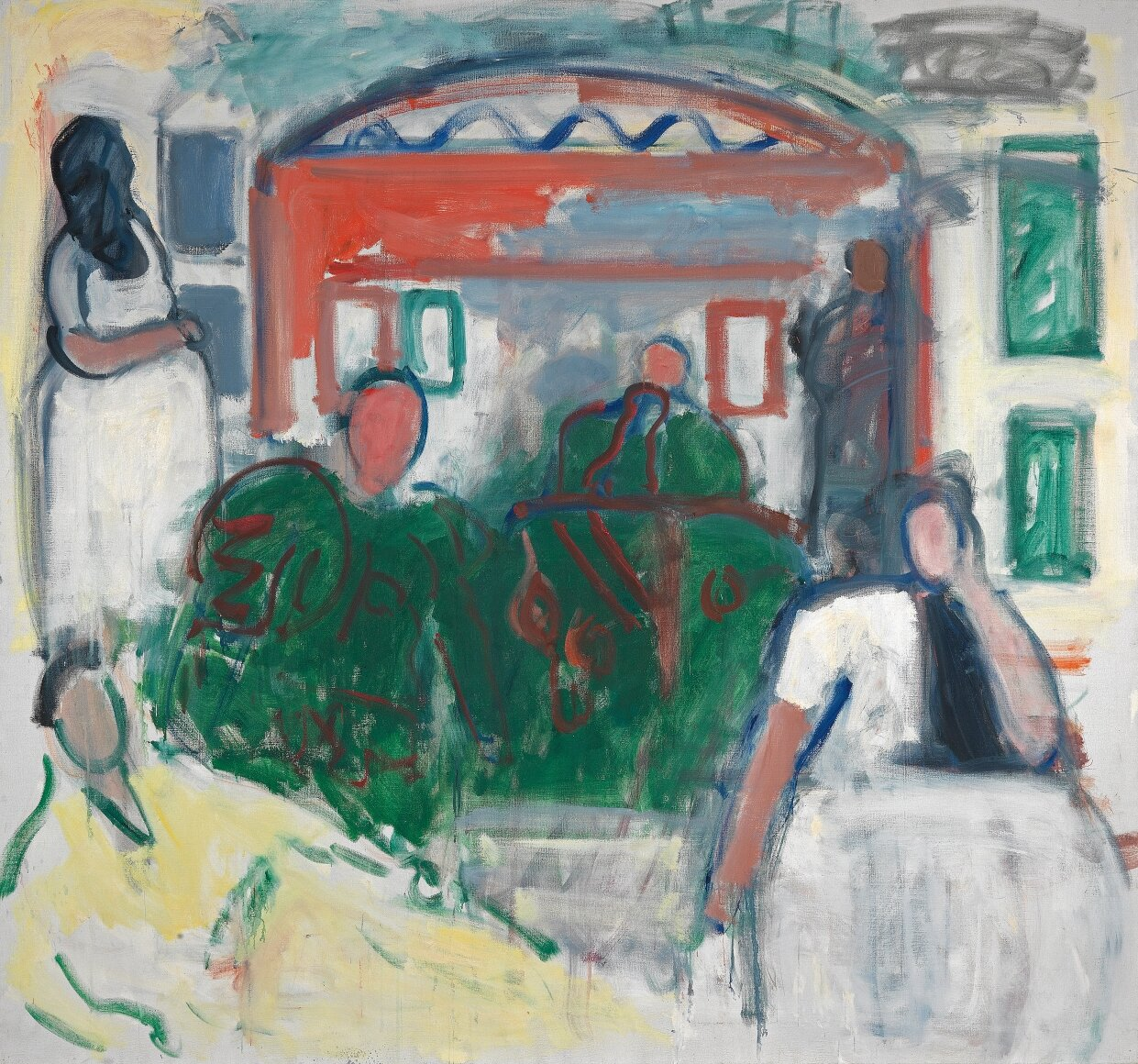 Moroccan Women,  1984, Oil on linen, 70 x 76 inches