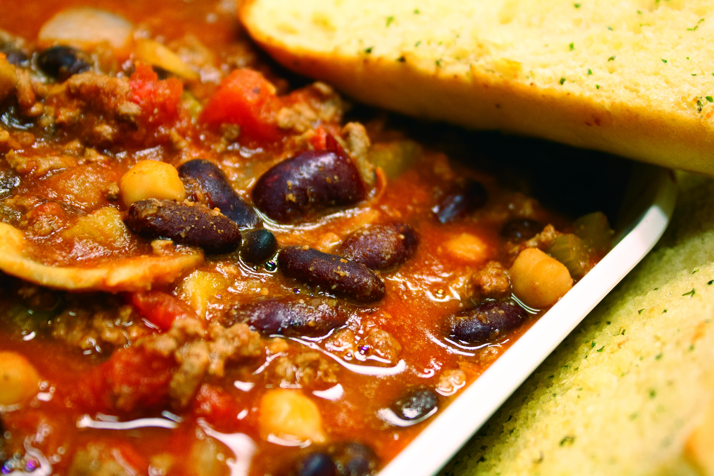 Chili with Garlic Bread  A hearty chili paired perfectly with a garlic bread loaf