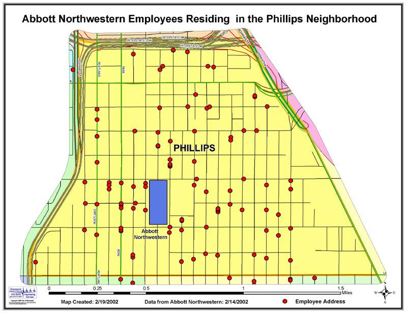 Abbott Northwestern employees residing in the Phillips neighborhood
