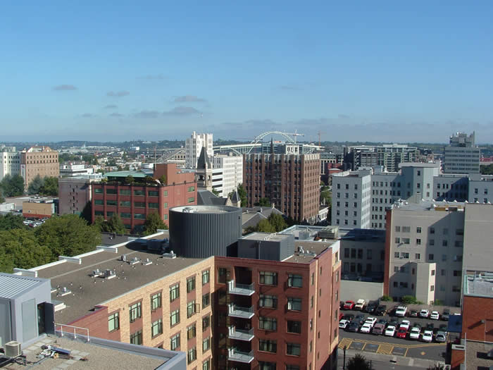 The view of Portland's Pearl District from the top of the Ecotrust Building.  Six years ago, only two of the District's buildings existed.