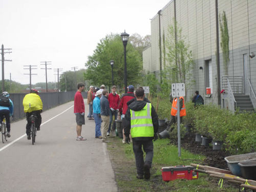 Bicyclists on the Greenway pass a group of volunteers