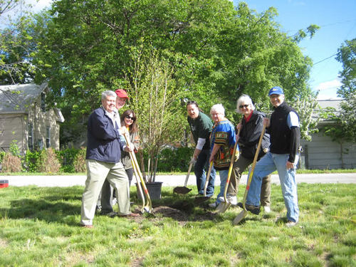 The ceremonial first tree, planted by Jim Campbell, former CEO of Wells Fargo, Commissioner Peter McLaughlin, Commissioner Gail Dorfman, Council Member Robert Lilligren,  Shirley Heyer of the Midtown Phillips Neighborhood Association , Carolyn Roby from Wells Fargo andNorm Champ from Tree Trust.