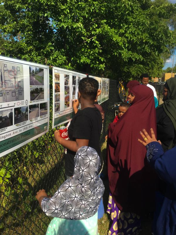Community members indicate what projects they would like to see implemented along the temporary demonstration shared street.