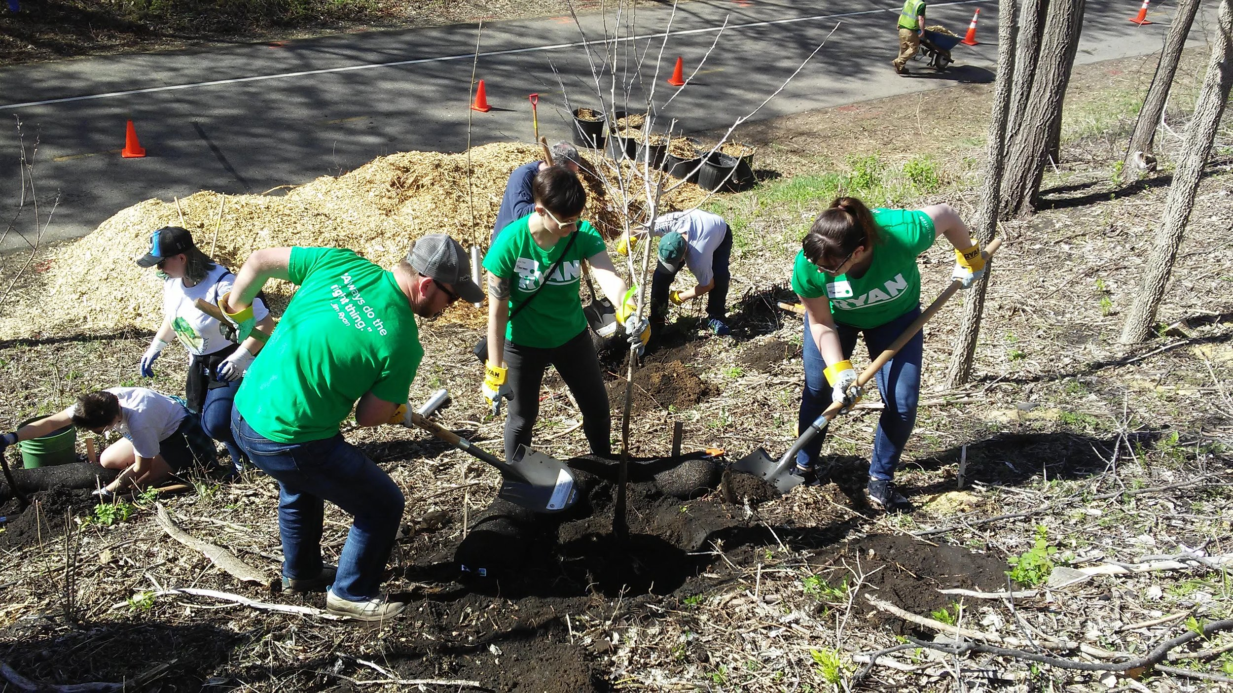 Planting trees at Arbor Day 2019     Read more about our 2019 Arbor Day event!    2018 Arbor Day