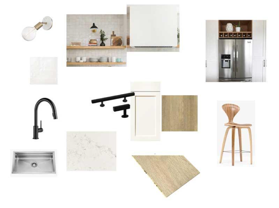 Our kitchen inspiration - A light and warm palette, IKEA boxes + Kitch cabinet faces.
