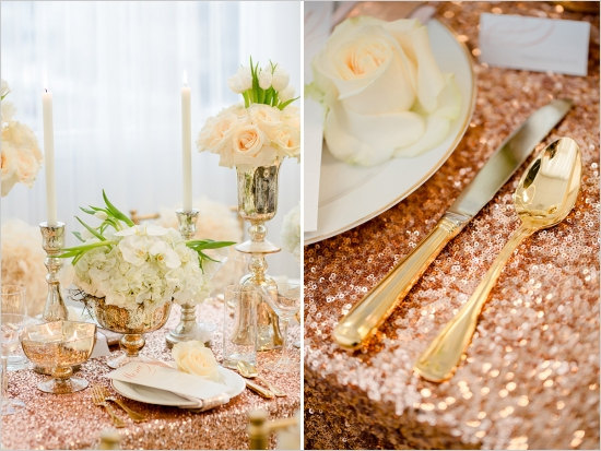 Table Decor:  These rose gold sequin table runners look stunning when photographed!  Get them on  ETSY