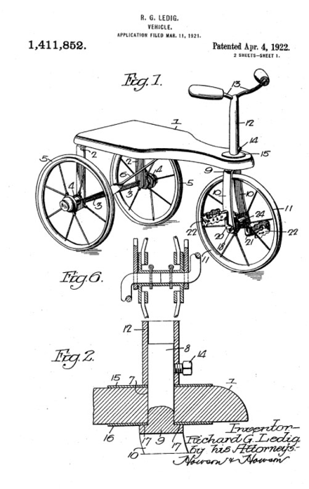 Tricycle Patent by Richard Ledig (1922)