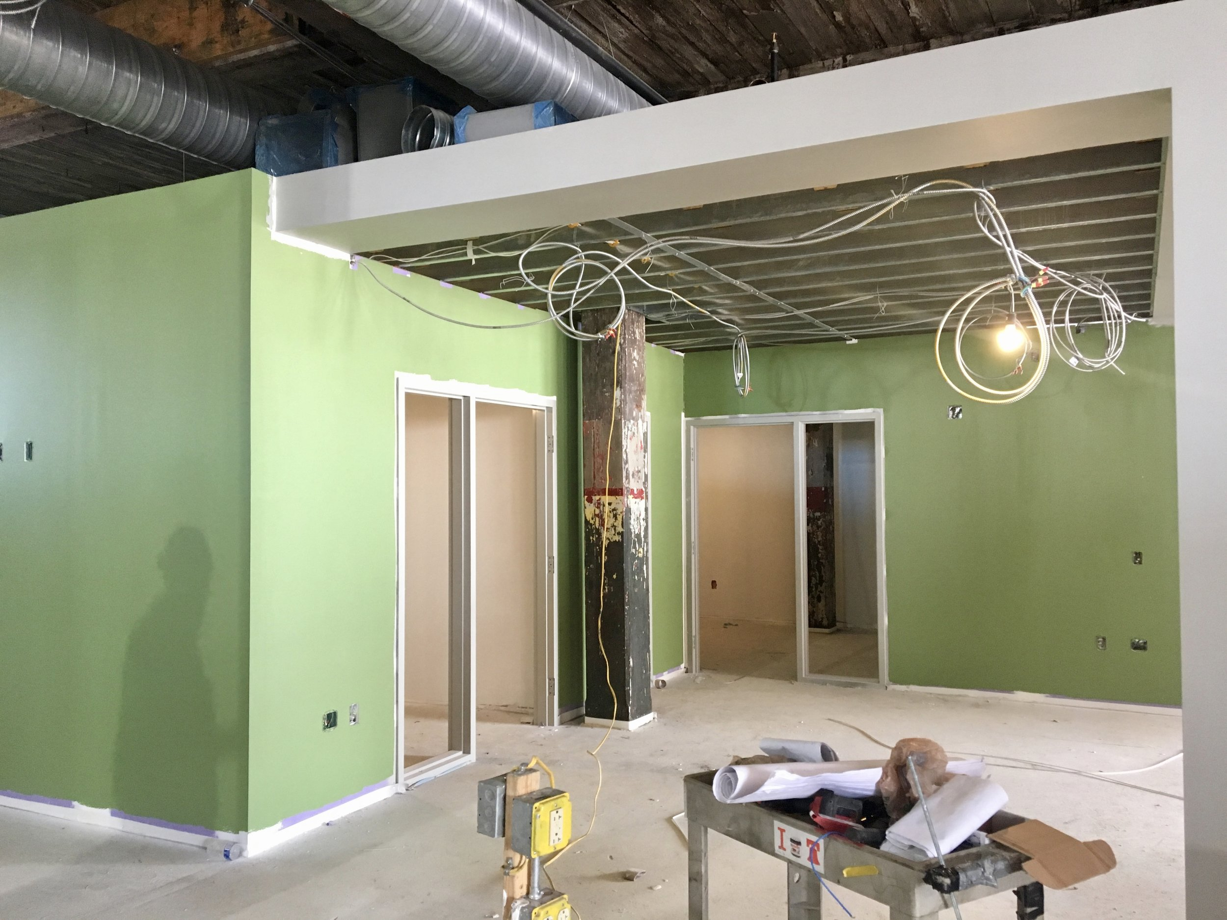 Restored Factory - The interior walls are almost complete! In this photo, the college counseling team's new space is looking welcoming and bright.