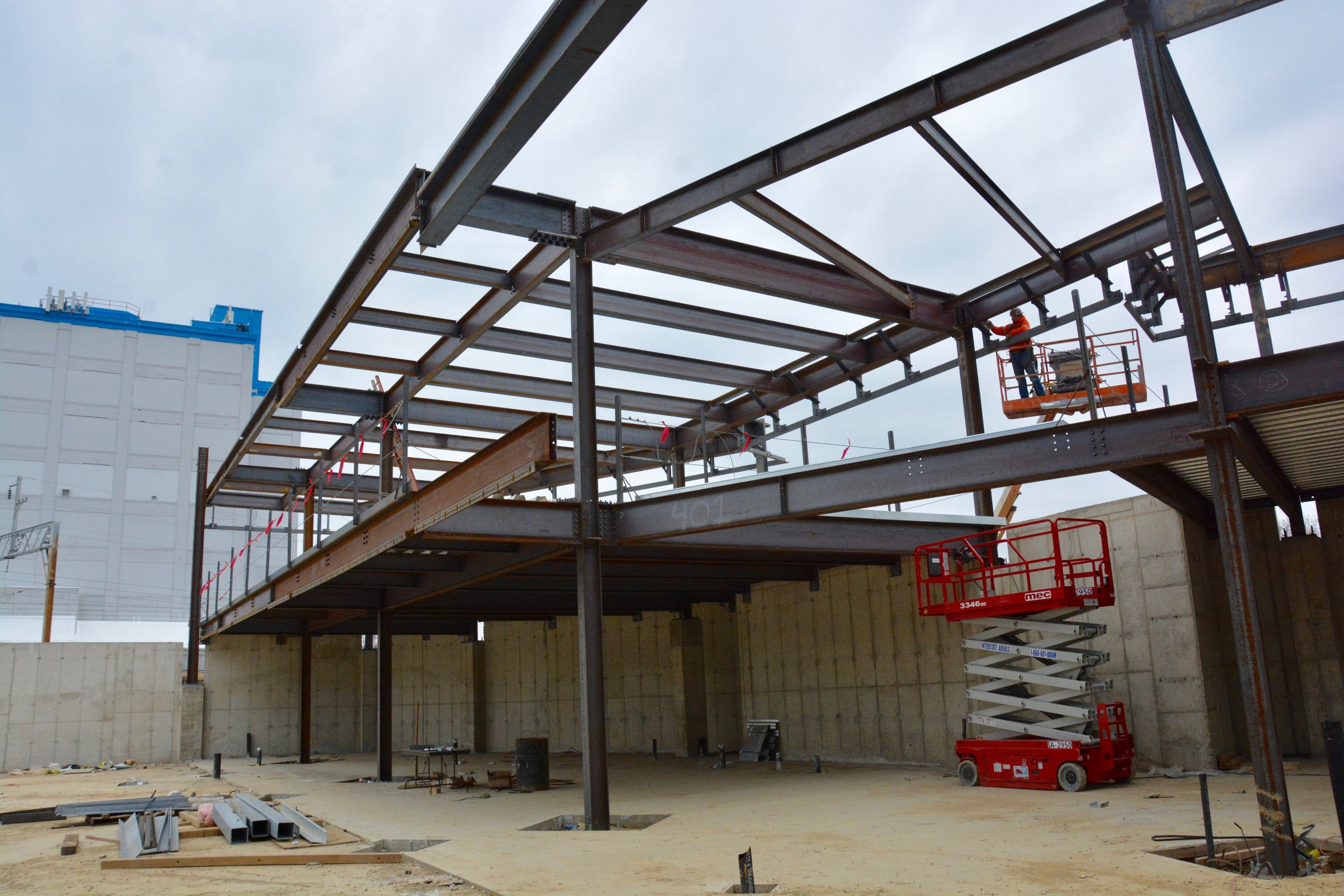 Steel framing of the fitness center and locker rooms