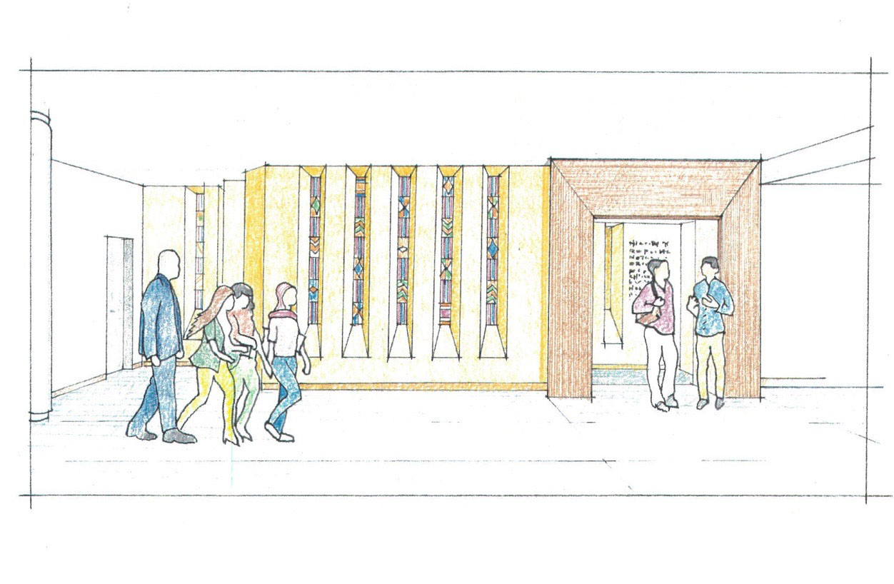 A drawing of the chapel entranceway by architect Eric Trainer of Bernardon.