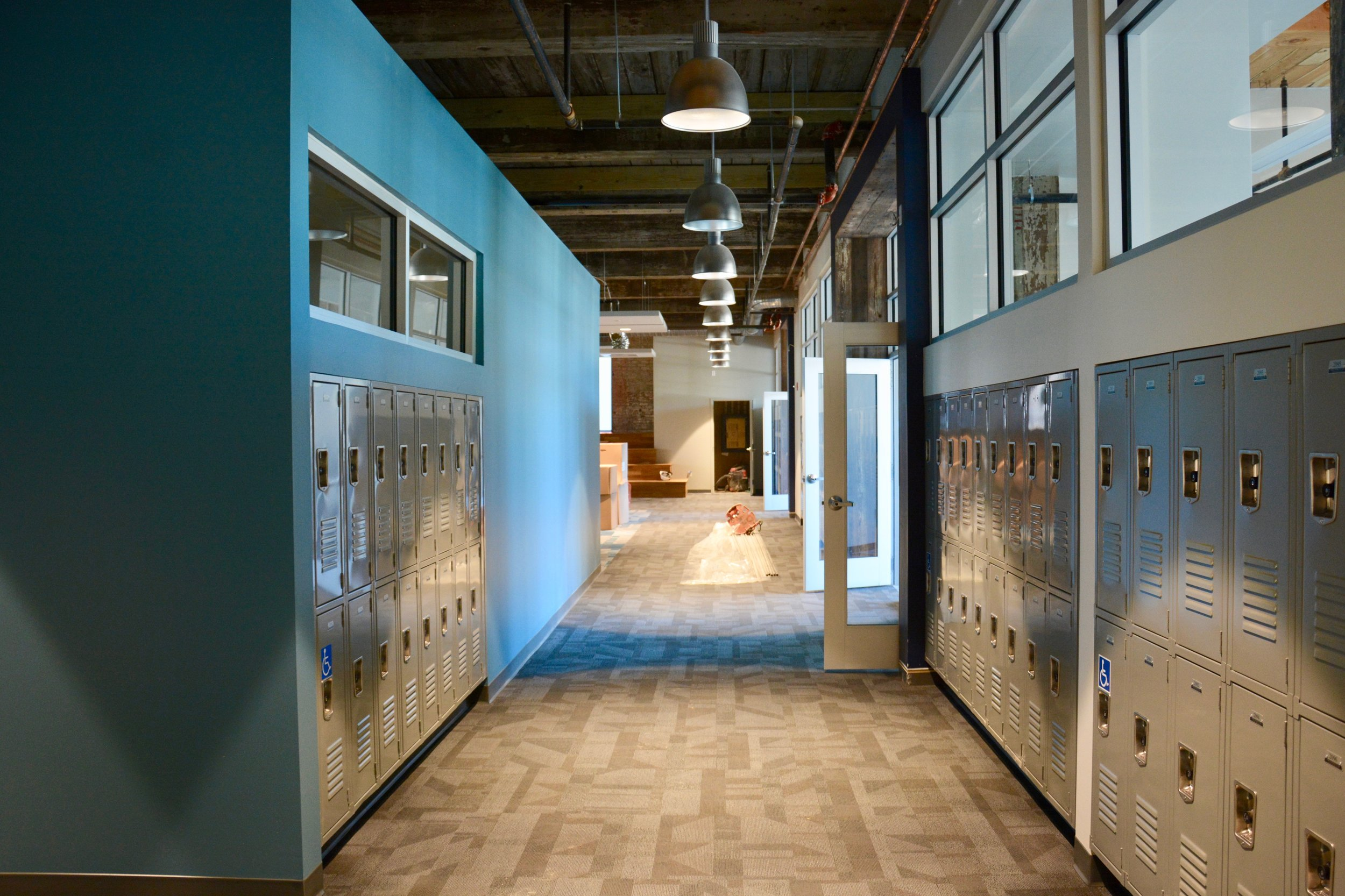 Student lockers, which are all located in the factory.