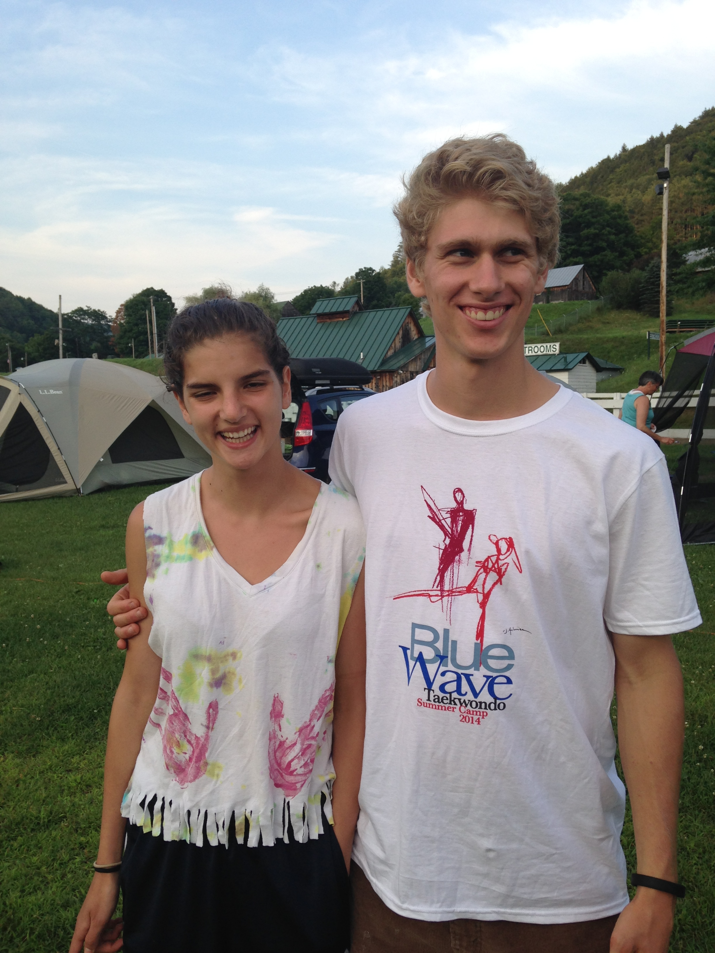 Camp couple modeling the Tshirt (& tie-dye!)