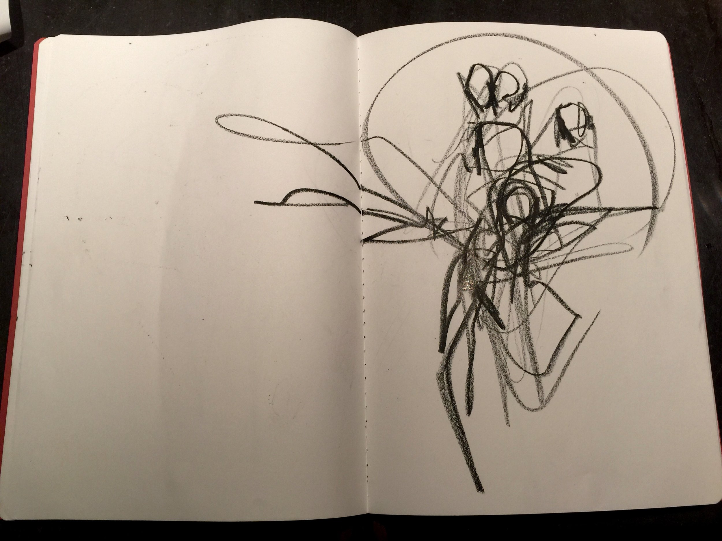 "A work called ""Ready""… drawn from Taekwondo blackbelt Sara Sayles.  Drawings that overlap bodies can often get to the core of a movement better than a single complete figure.  (Black China marker on sketch paper.)"