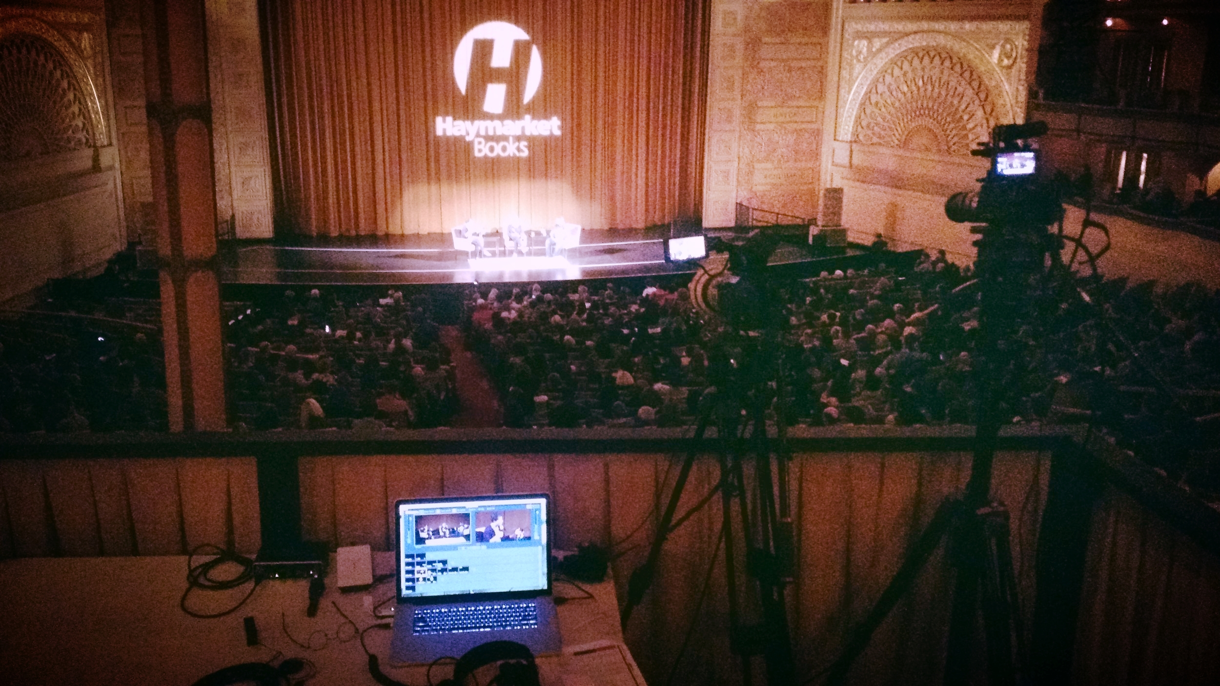 Carrying a 3500-person event (Michele Alexander and Naomi Klein) from the Auditorium Theater to the world via Facebook Live, May 2017
