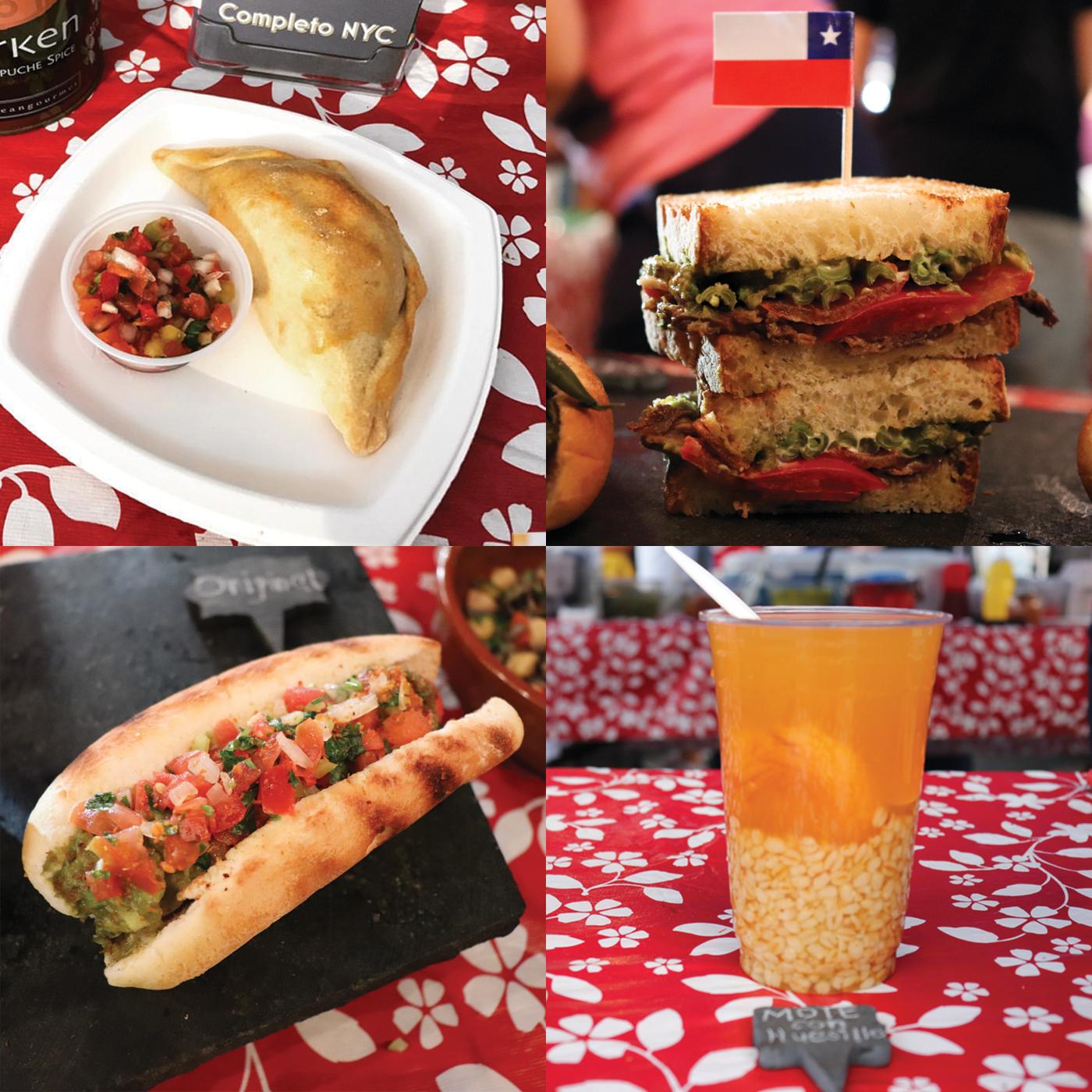 Clockwise from top left: Baked Empanada de Pino, Chacarero, Mote con Huesillo, Completo.