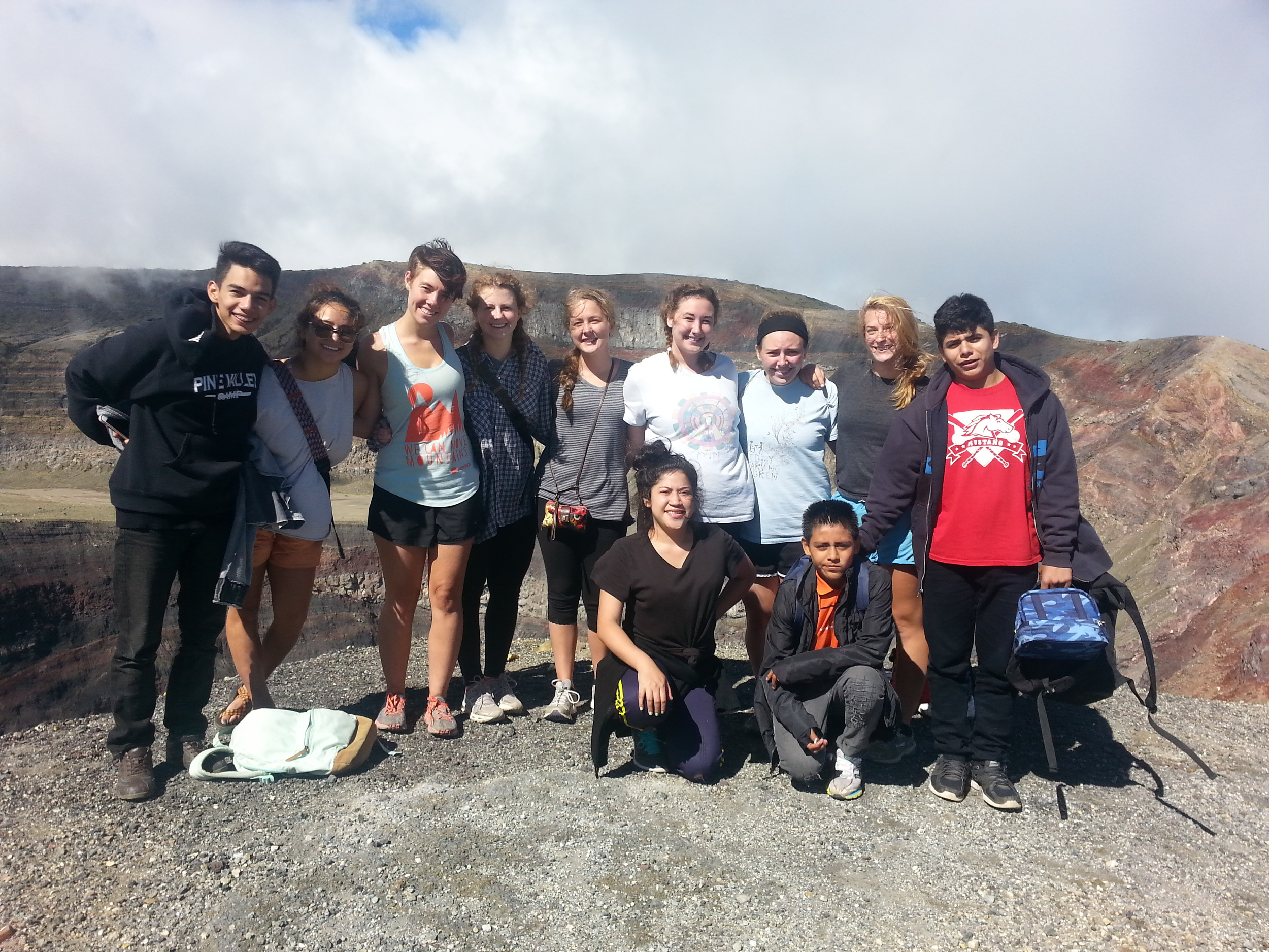 At the summit of Santa Ana Volcano with Allie, Mia, Emma, Megan, Molly,  & Annie From the World Ra  ce