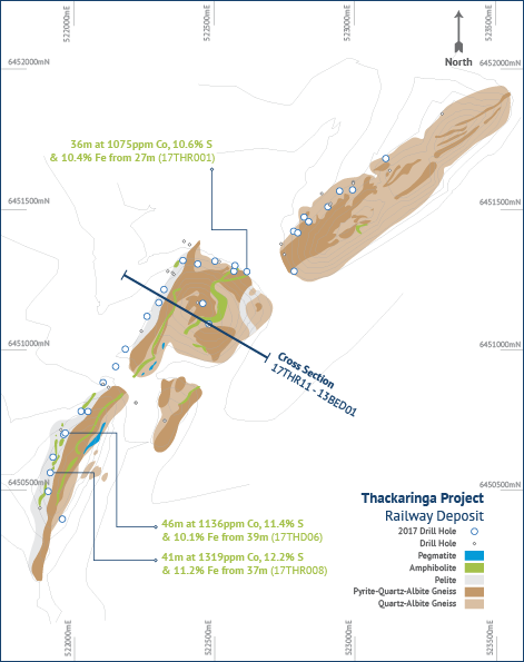 Railway deposit geological plan illustrating position of cross section (above).