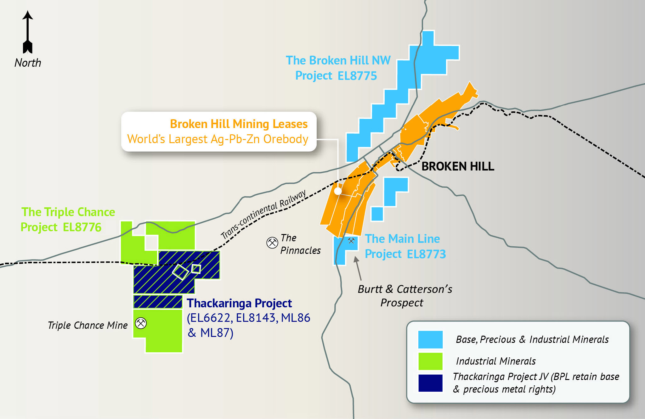 Figure 1 BPL's tenements cover 209 km2 of under-explored ground with numerous base, precious and industrial mineral prospects