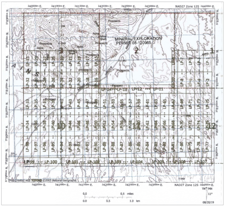 Location of all title applications lodged over the La Paz rare earth deposit.