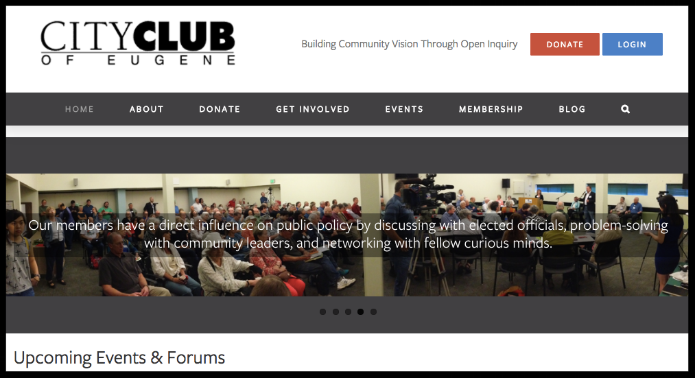City Club of Eugene's homepage