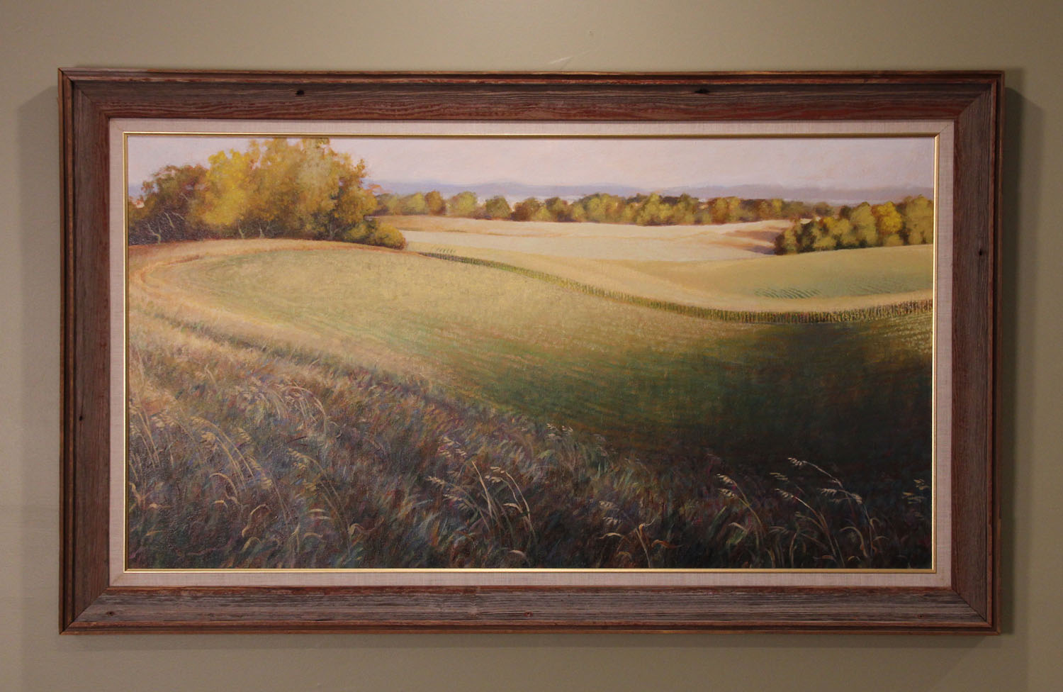 """Lake Christina, View from 78 This large original on canvas is a great size for above the sofa or in a professional's reception area. So typical of the rolling, lake-speckled countryside that I love, this scene is just north of Ashby, Minnesota. Canvas: 48"""" x 26""""  