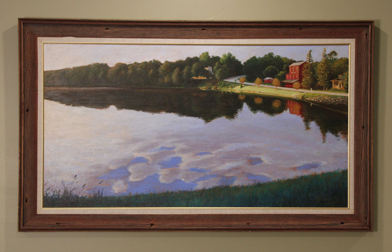 """Morning Dances Another sofa-sized image from west central Minnesota, Terrace Mill painted as the rising summer sun skims across the mill pond and lights this historic mill... as most people rarely see it. Canvas: 48"""" x 26""""  