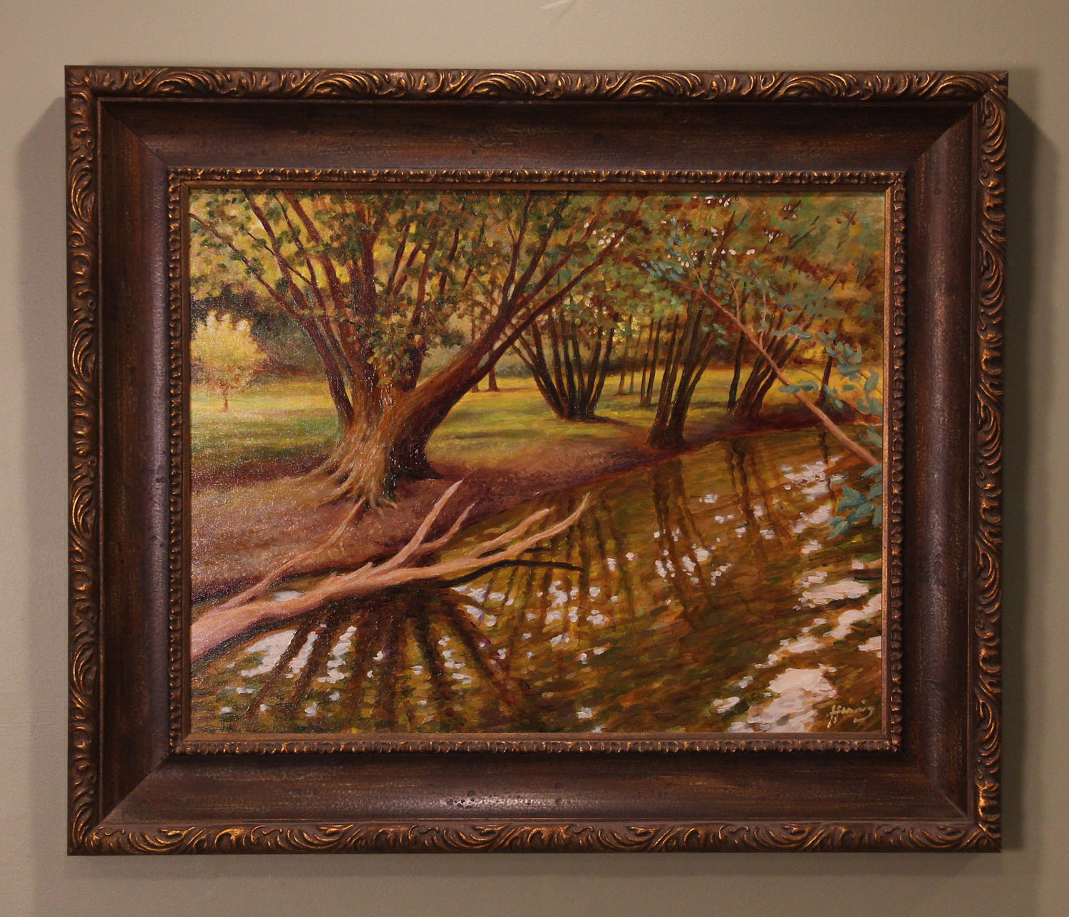 """Salt Creek About 10 years ago I taught a painting workshop to an art club in Clinton, Illinois. This was a plein aire painting I created after hours, of a stream near my host's country home. Canvas: 28"""" x 22""""  
