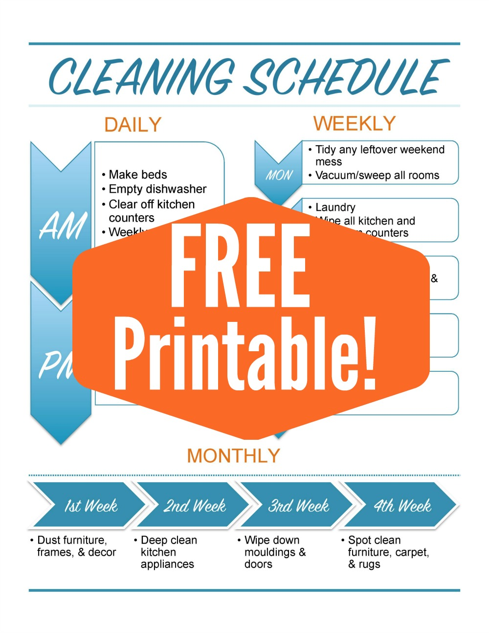 Feel like your home is a constant mess? I've got a free cleaning schedule printable with Daily, Weekly, and Monthly chores on the blog today!