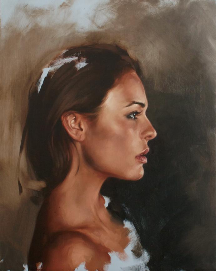 """portrait study, Rosie profile"""