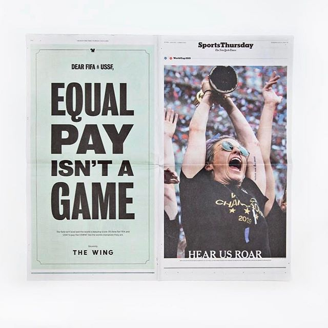 """Standing with @the.wing and @uswnt on this one... #repost @the.wing: """"Equal Pay Isn't A Game. We took out an ad in today's @nytimes to support the @uswnt in their fight for equal pay and to call on both @fifaworldcup and @ussoccer to pay the four-time World Cup champions exactly what they're worth. We'll be watching and keeping score 💰⚽️🏆"""""""