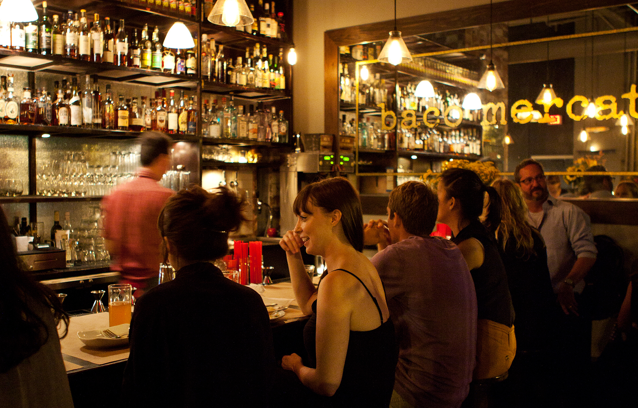The 12-seat bar at Bäco Mercat is reserved for walk-ins. Come on by!