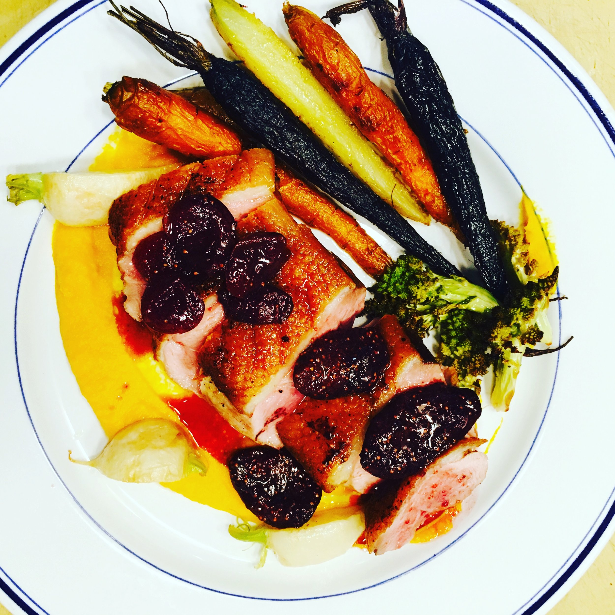 Duck, Carrot Puree, Market Vegetables, Fig and Cherry Sauce