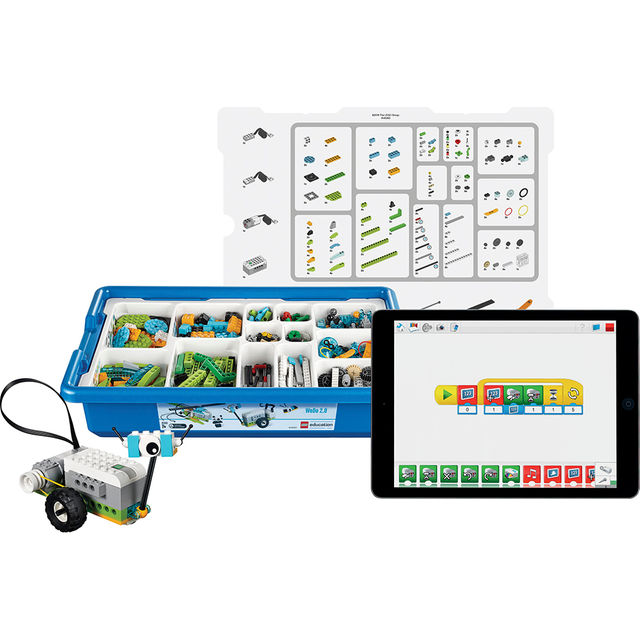 LEGO Education WeDo - This set is based upon the latest science standards and was created to enhance students' curiosity and science skills. The set is delivered in a storage bin along with sorting trays, labels, a Smarthub, a Medium Motor, Motion Sensor, a Tilt Sensor, and enough building elements for two students