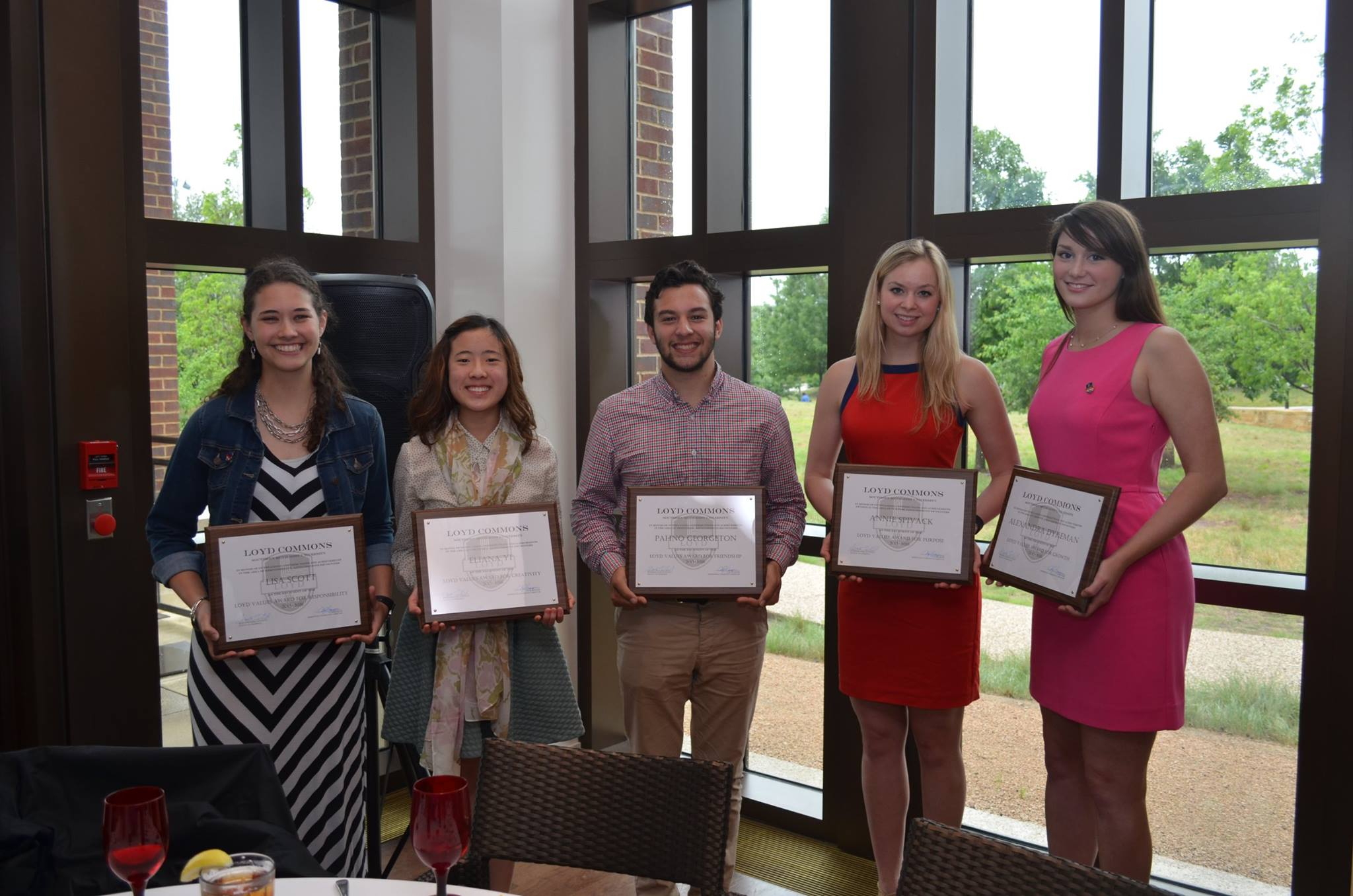 Our 2015-2016 Values Award Recipients (L to R) - Lisa Scott, Eliana Yi, Pahno Georgeton, Annie Spivack, Alexandra Dykeman