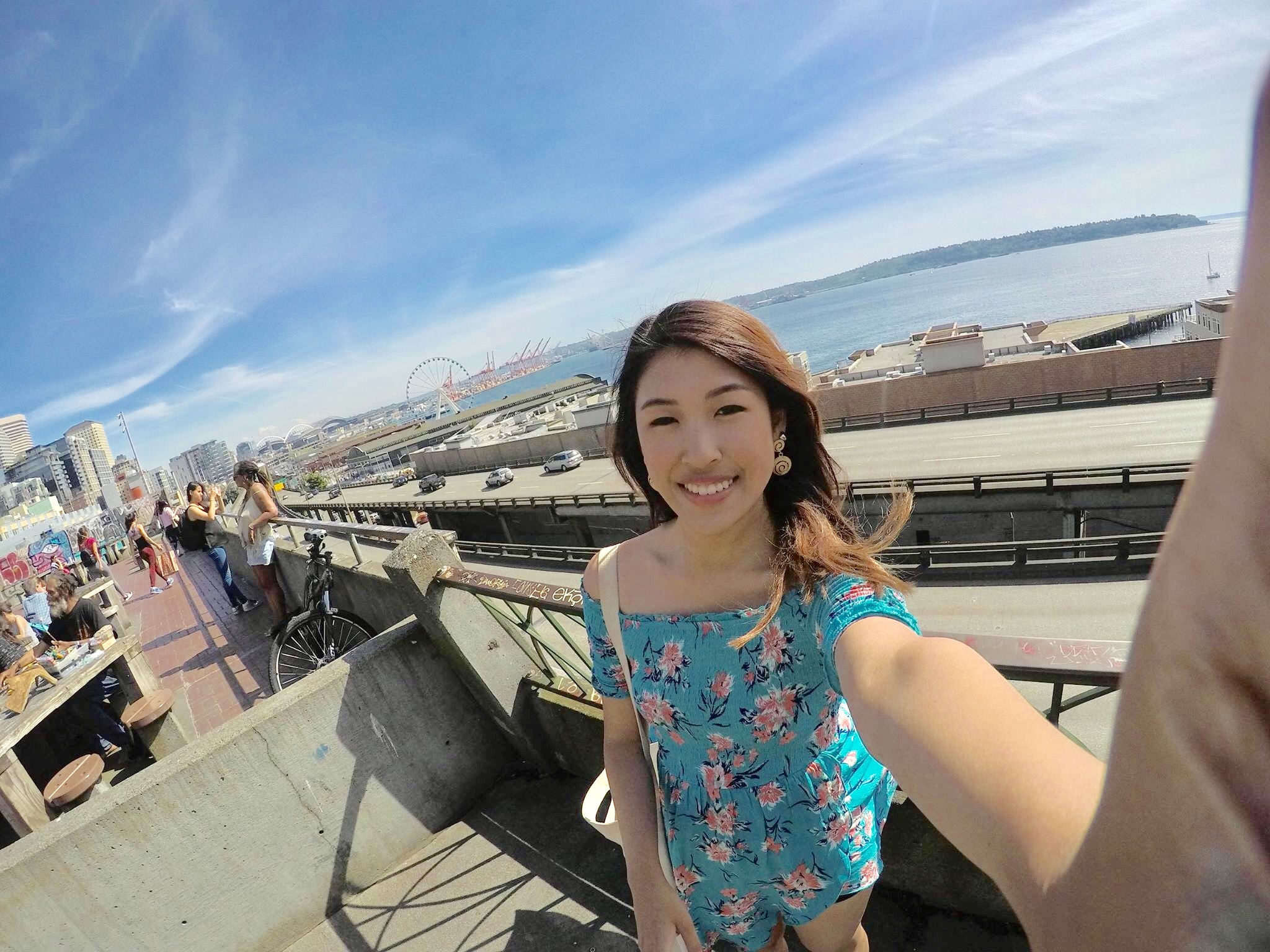A Go-Pro picture with the beautiful views of Seattle!