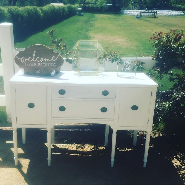 Such a beautiful day for a wedding !#welcome#wedding #malibuwedding #rustic #charming #shabbychic #love #theknot #americana #reception #rentals #HisandHersRentals #dreamweddings #dresser #white #antique #artwork #farmhouse #unique #handcrafted