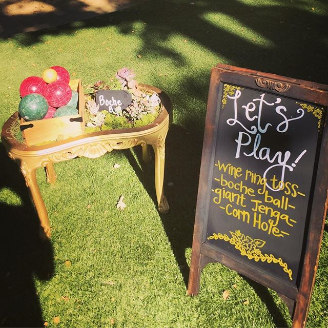 Everybody ❤️ lawn games ! #rustic #vintage #decor #wedding #weekend #winery #farmhousestyle #fun #authentic #handcrafted #HisandHersRentals #love #sweethearttable #farmtable #grass #bocheball #jenga #cornhole #wine #ringtoss #bride #groom #malibu #wedding