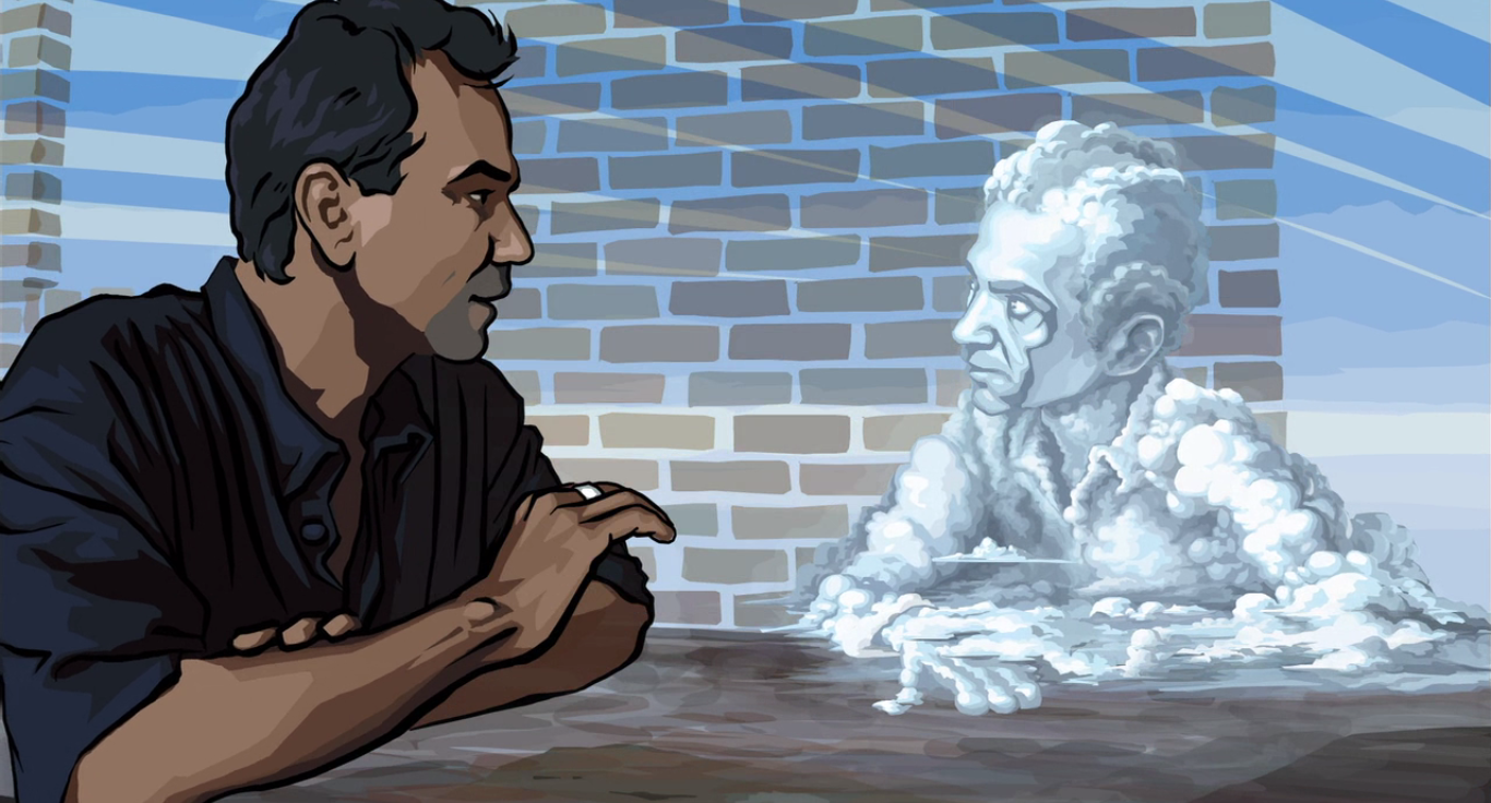 Here's an image from  Waking Life , an infinitely better invetigation of dreams.