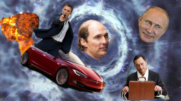 Rumors circulate that Christopher Nolan may direct James Bond 25. - Plot is currently unknown, but speculation abounds that it will follow a Russian crime syndicate who controls an inter-dimensional wormhole through which Bond must ride an exploding Tesla in pursuit of the Japanese agents who stole secret files hidden inside the architecture of the mind.