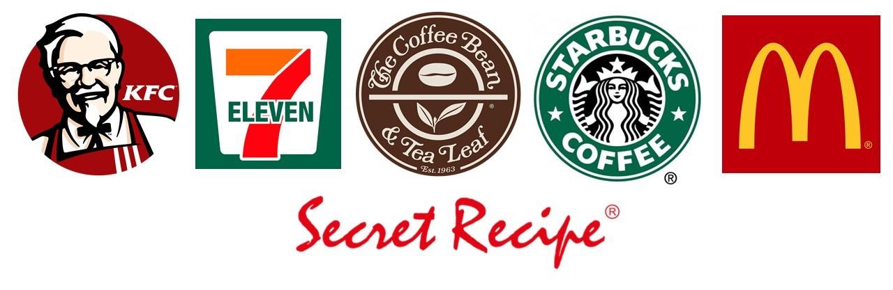 (From left: KFC, 7-Eleven, The Coffee Bean, Starbucks, McDonald's, Secret Recipe)