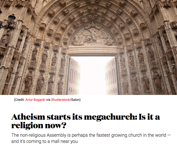 Salon asked was  Sunday Assembly a religion ? (It most definitely isn't).