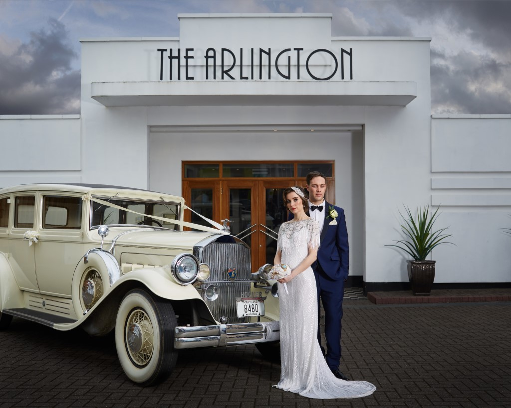 Car outside The Arlington Ballroom, Art Deco Wedding Shoot.jpg