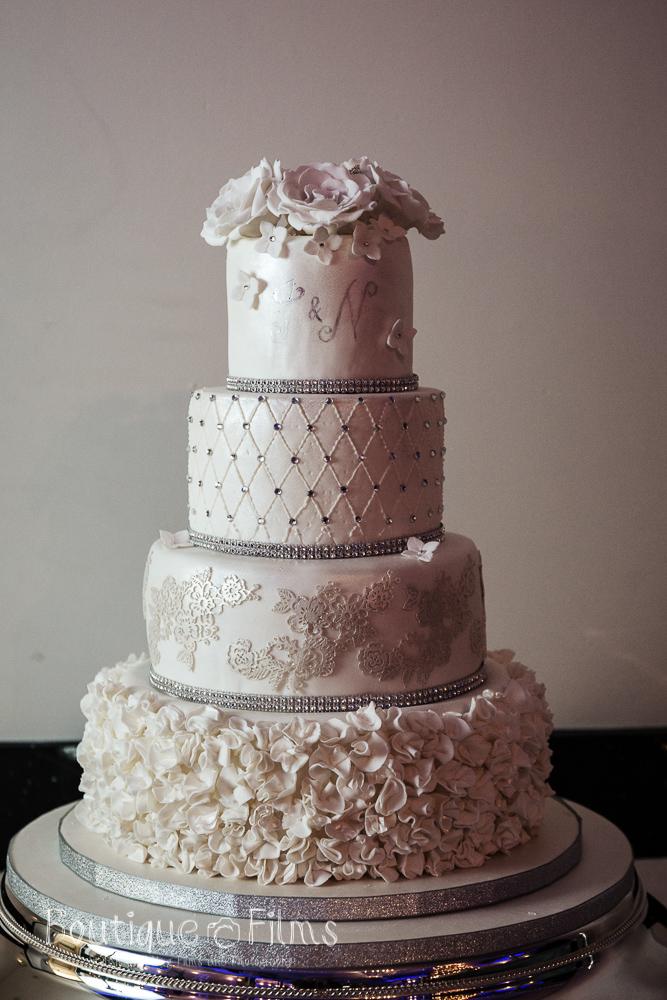Silver & White Winter Wedding Cake